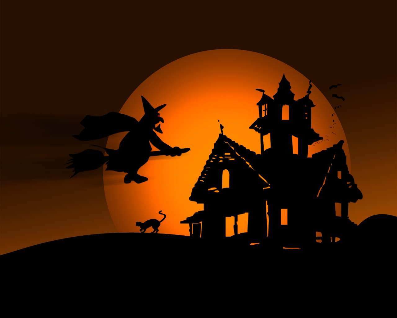 Witch flying over house