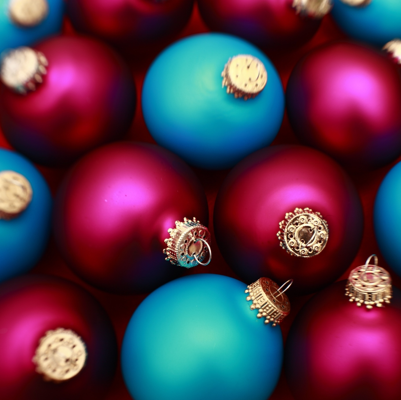 Red and blue Christmas balls