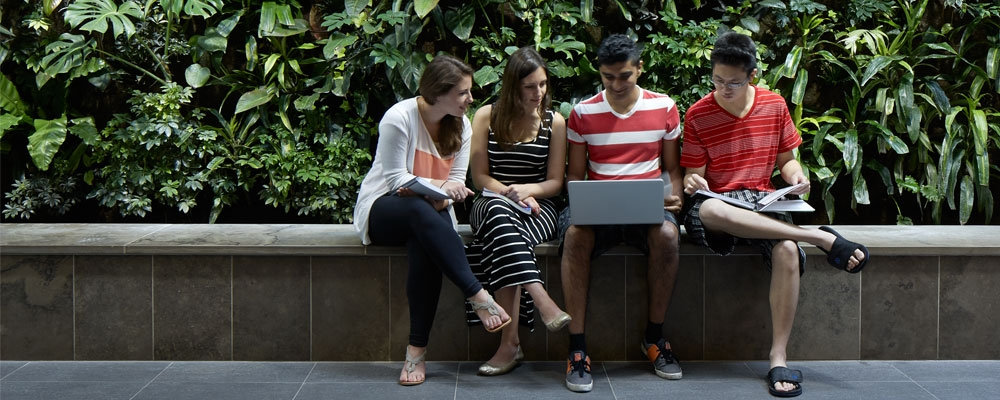 """Students working on laptop in front of the """"Green Wall"""" In Environment 3 building"""