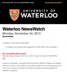 Example of NewsWatch email.