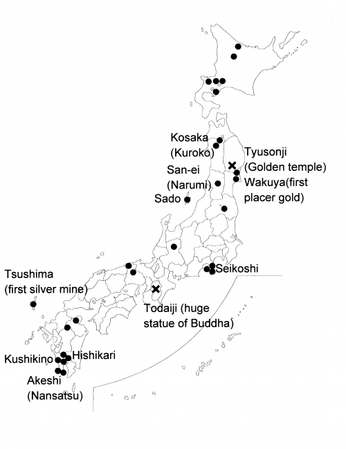 Map illustrating the position of Japanese gold deposits, mining areas and places mentioned in the text