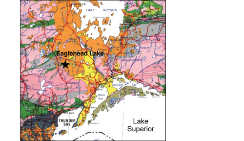 Geological map of the area northwest of Lake Superior.
