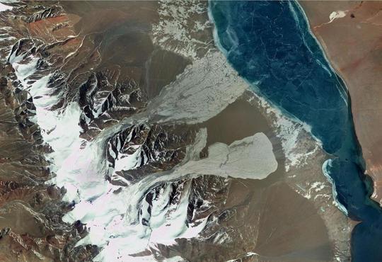 google earth image twin glacier collapse tibet