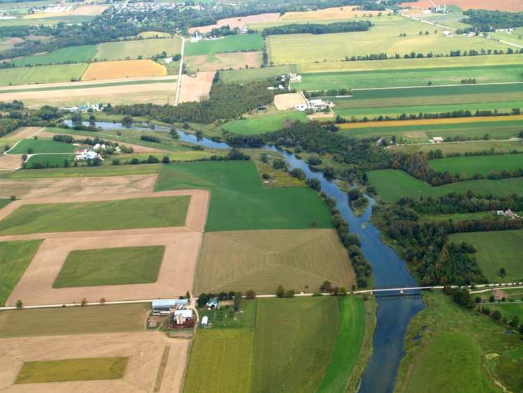 grand river running through farmland