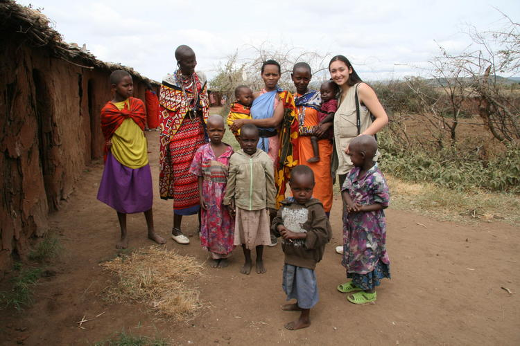 Elaine Ho in Africa with African villagers