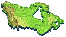 HydroGeoSphere model image of Canada showing landscape relief.