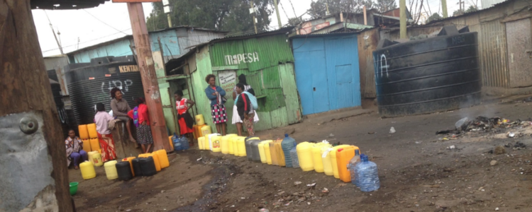 water collection buckets in Kenya