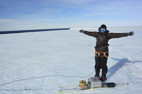 Christine Dow fighting the strong winds on Nansen Ice Shelf, East Antarctica