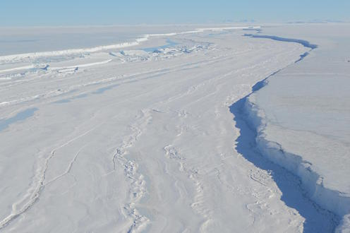 Nansen Ice Shelf fracture six months prior to breaking off in 2016