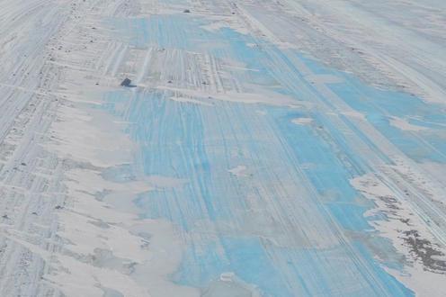 Refrozen surface water on Nansen Ice Shelf
