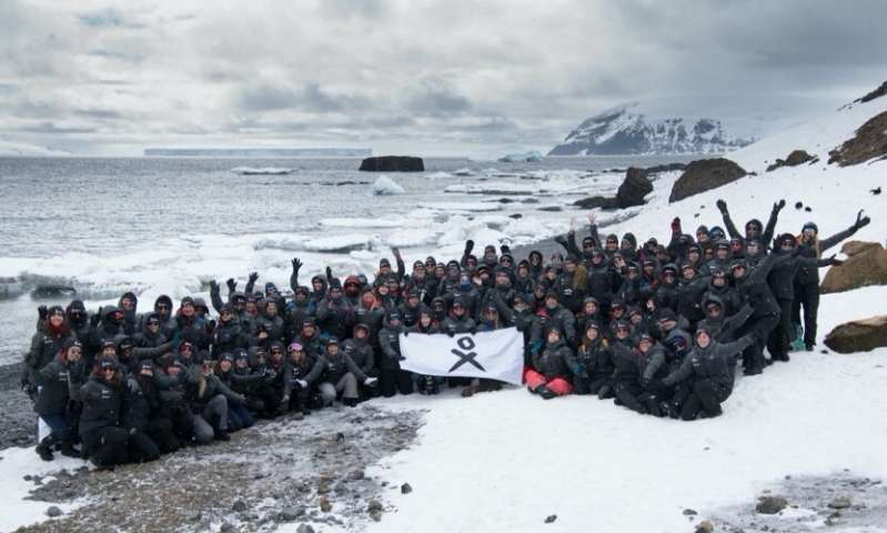 The participants of Homeward Bound Cohort 4, the largest all-female expedition to Antarctica. Credit: Will Rogan