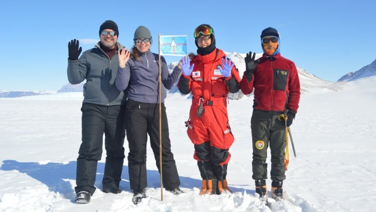 Christine Dow and colleagues on top of glacier