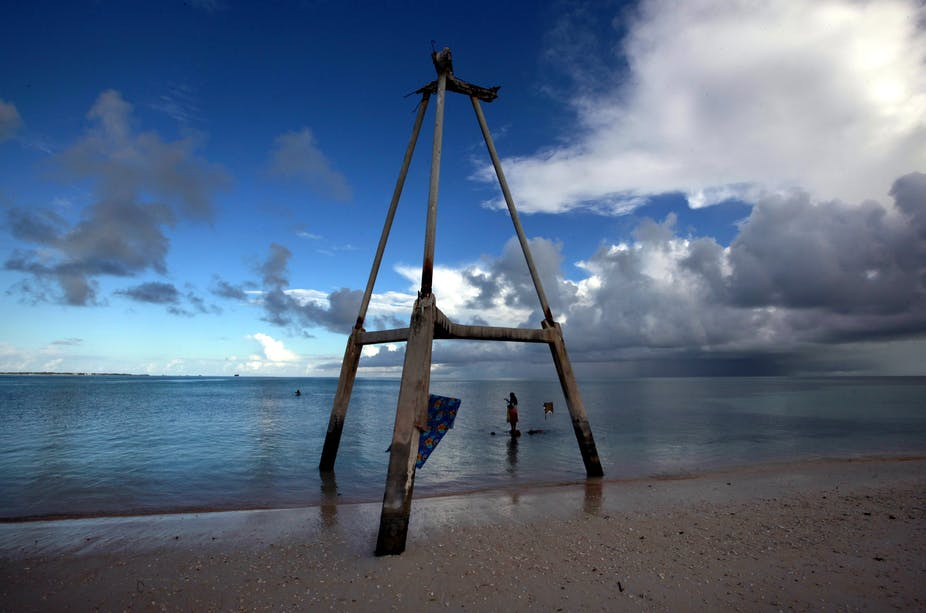 This wood tower on Bikeman islet, in the central Pacific island nation of Kiribati, used to be on the sand.