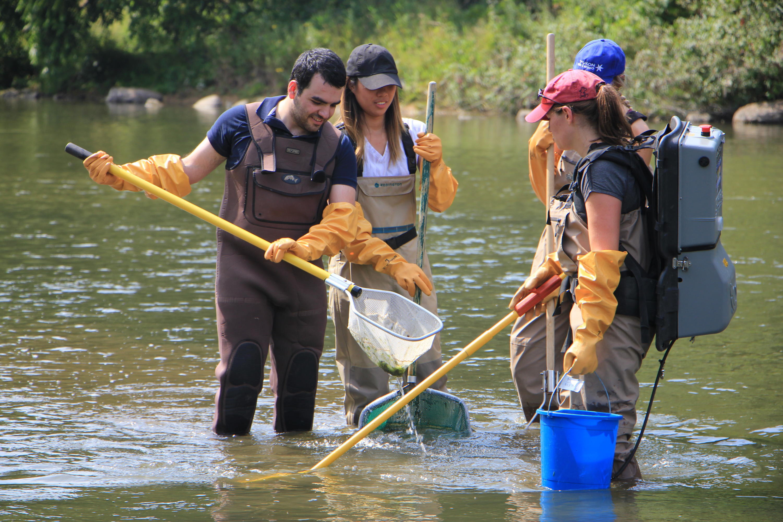 Students electrofishing in Grand River