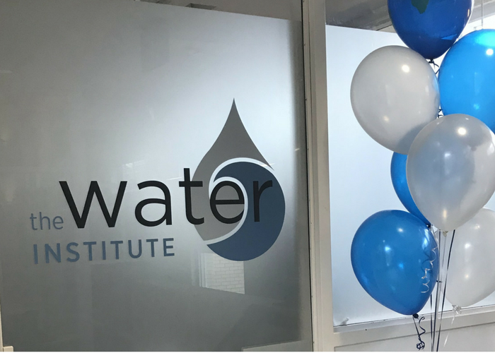 Water Institute sign and balloons