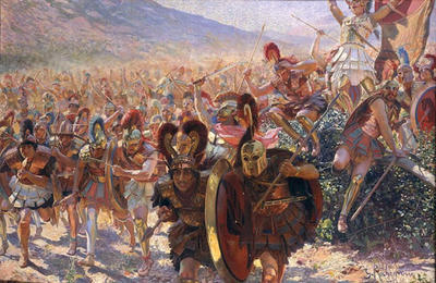 painting of Greek warriors in battle