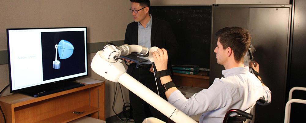 Student and professor using the Advanced robotics lab