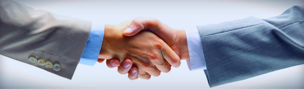 Business professionals shaking hands.