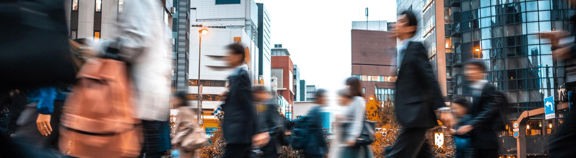 Speed people walking in city