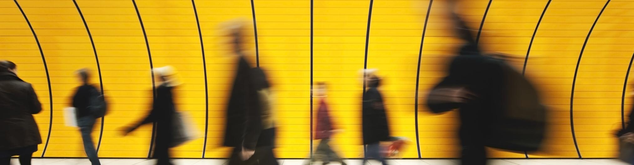 People walking in fast motion