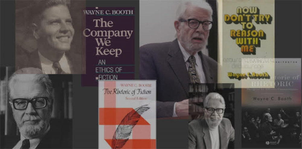 Imagesof Wayne Booth at different stages of his career; images of his most famous works