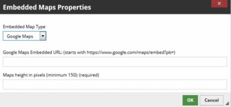 Embedded maps properties box.