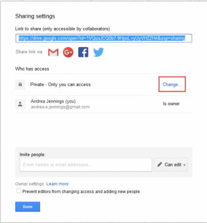 Share settings options box.