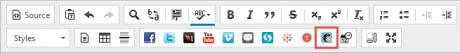 MailChimp widget icon on the toolbar in WCMS.