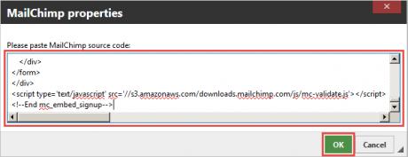 MailChimp properties window.
