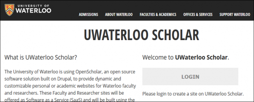 Login button on the Scholar at Waterloo homepage.