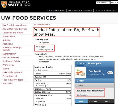 """""""BA, Beef with Snow Peas"""" and """"Non-Vegetarian"""" content on UW Food Services website, as well as on UWaterloo Menu app."""