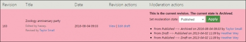 View of moderation tab of event item.