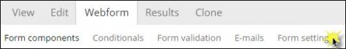 Selecting the Form settings sub-tab.