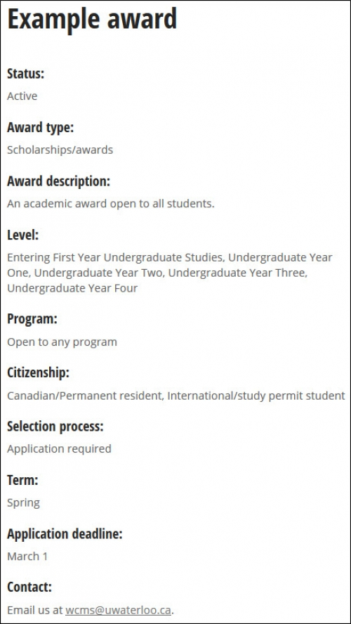 Example award content type.