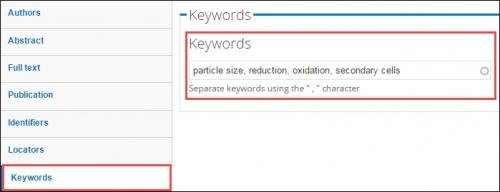 Keywords field.