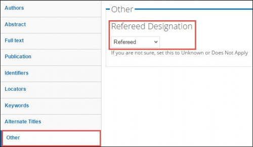 Refereed Designation field.
