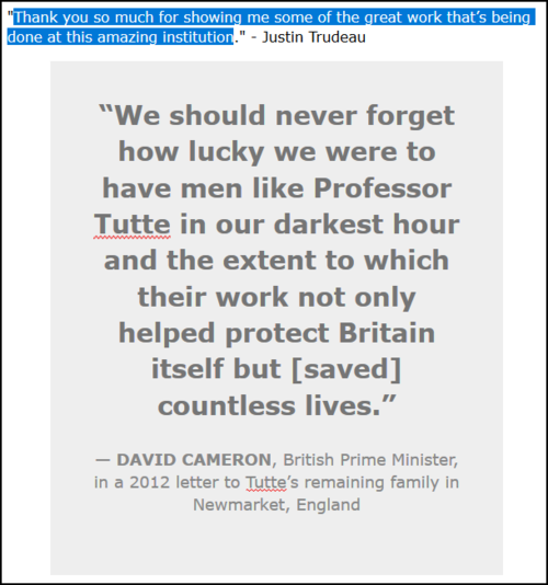 Screenshot of quote being highlighted.