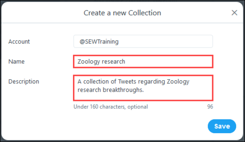 """Screenshot of Create a new Collection window, with a name of """"Zoology research"""", and description as """"A collection of Tweets regarding Zoology research breakthroughs""""."""