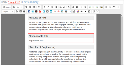Screenshot of the Expandable/collapsible content template appearing correctly.