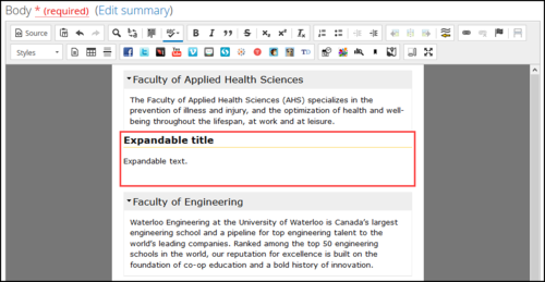 Screenshot of the Expandable/collapsible content template appearing incorrectly.