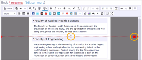 Screenshot of cursor placed slightly lower, and Insert paragraph here button further to the right.