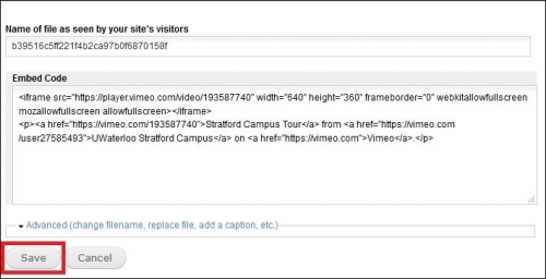 Edit the details of the Vimeo video and click save