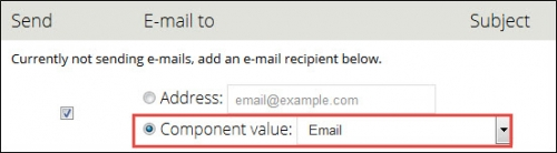 Email component value.