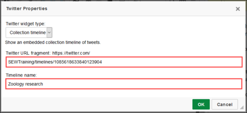 Screenshot of Twitter URL fragment and Timeline names field populated.
