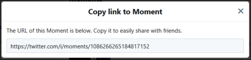 Screenshot of Copy link to Moment window.
