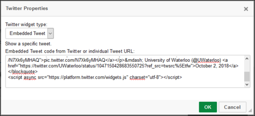 Screenshot of Twitter Properties window, with Embed code pasted in.