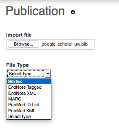 Selecting file type to bibtext for importing on UWaterloo Scholar
