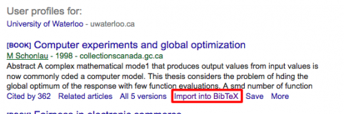 Selecting Import into bibtext on Google Scholar