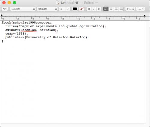 Pasting bibtext data into text editor