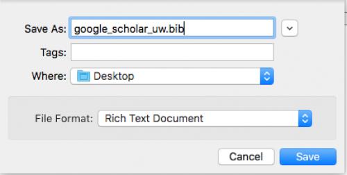 Saving bibtext data from Google Scholar